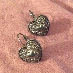 Heart earrings silver tone